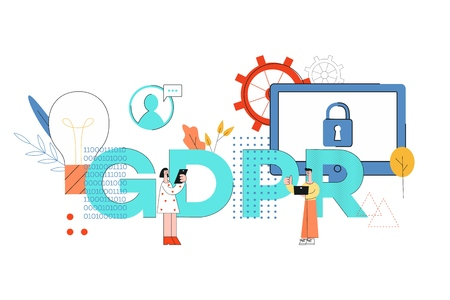 Vector illustration of GDPR word design with man and woman using computer devices surrounded by big letters and symbols of security - General Data Protection Regulation concept. Ilustração