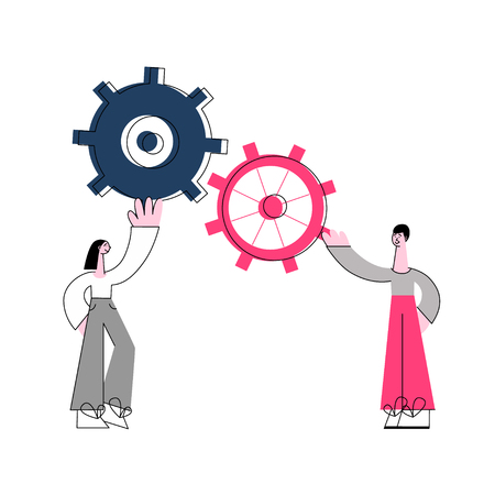 Vector illustration of effective teamwork concept with two people holding connected gears in flat style - isolated man and woman supporting cogwheel for successful work of business. Stock fotó - 126930658
