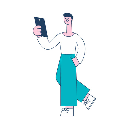 Vector illustration of social network or online reading concept in flat style with young smiling man using mobile gadget for reading or chatting isolated on white background.