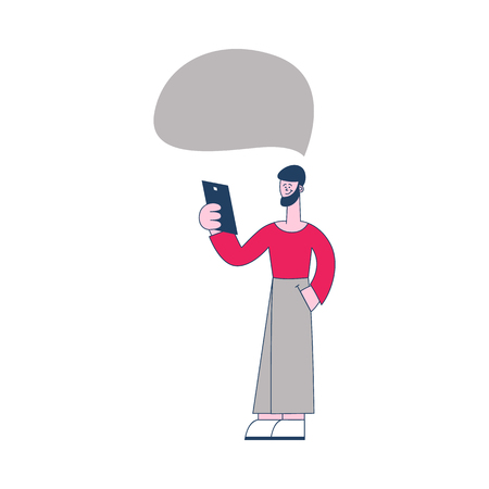 Vector cheerful young man standing holding smartphone device with empty speech bubble. Male character with social communication symbol. Flat isolated illustration Illustration