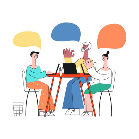 Vector stylized young woman and men colleagues disscussing business project or developing process sitting at table with laptop, empty speech bubble above head talking to each other gesticulating