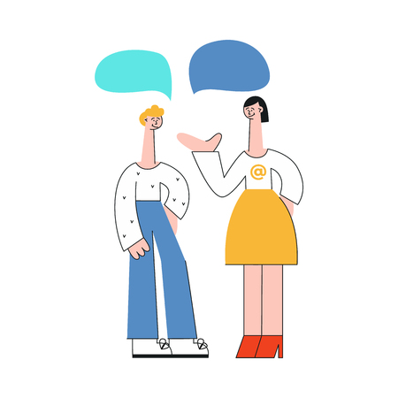 Vector stylized young woman and man in casual clothing talking to each other gesticulating with empty speech bubble above head. Friends or colleagues and social communication. Flat illustration