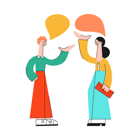 Vector illustration of talking people with speech bubbles in flat style isolated on white background - young man and woman with hand gestures communicating with each other and discussing.