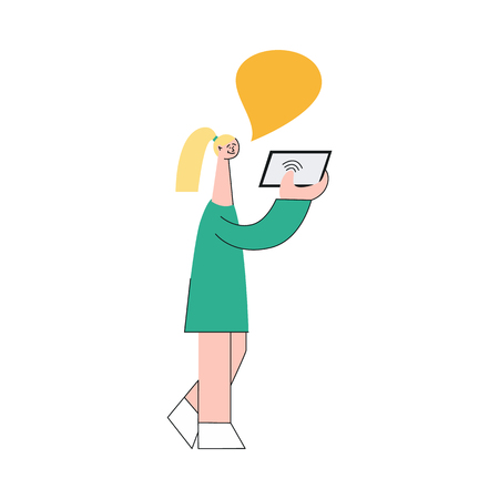 Vector illustration of young woman holding mobile device with wireless network and communicating with someone in flat style isolated on white background - smiling girl for online chatting concept.