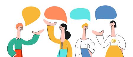 Vector illustratie set pratende mensen met tekstballonnen in vlakke stijl geïsoleerd op een witte achtergrond. Jonge mannen en vrouwen met handgebaren die met elkaar communiceren en discussiëren.