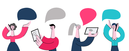 Vector illustration set of young people using tablets and mobile phones for communication and dialogue in flat style isolated on white background - smiling men and women conversing using gadgets.