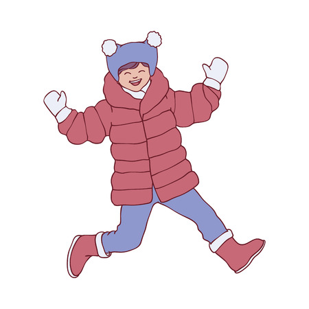 Vector sketch cheerful adult woman in warm winter or autumn clothing - jacket or coat, scarf, hat and boots having fun laughing outdoors. Female character with positive emotiongs Standard-Bild - 126930689