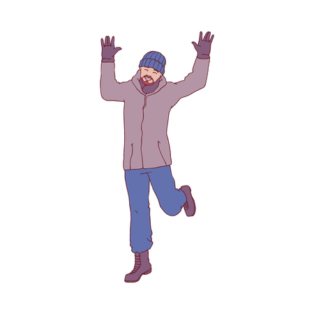 Vector sketch cheerful adult man in warm winter or autumn clothing - jacket or coat, scarf, hat and boots having fun laughing outdoors. Male character with positive emotions Illustration