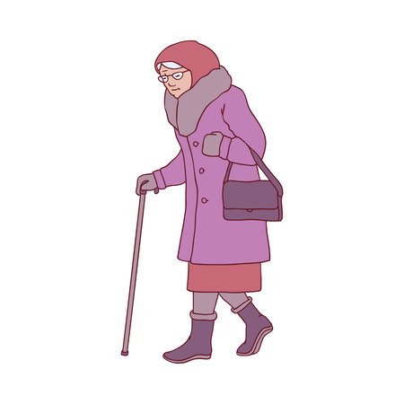 Vector illustration of elderly woman with walking stick in winter time in sketch style - isolated hand drawn smiling aged female character in warm clothes moving with cane in frosty season. Illusztráció