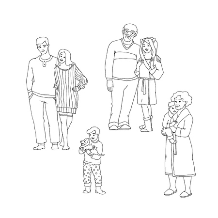 Vector illustration set of happy family members in warm winter home clothes hugging in sketch style - hand drawn people embracing and smiling indoor isolated on white background. Stock Illustratie