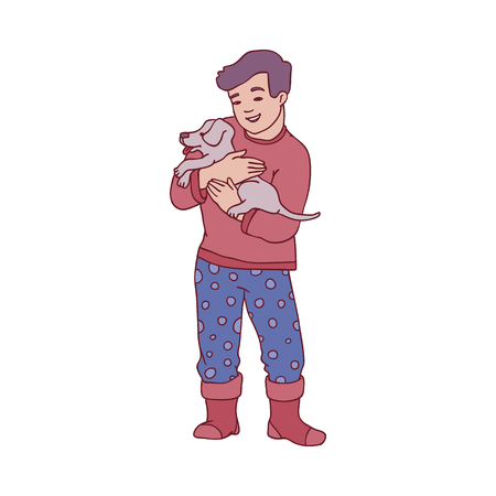 Vector small boy kid holding cute grey puppy dog. Male character in cozy warm home cloth express love, care to his pet smiling. Happy hugs concept. Isolated illustration