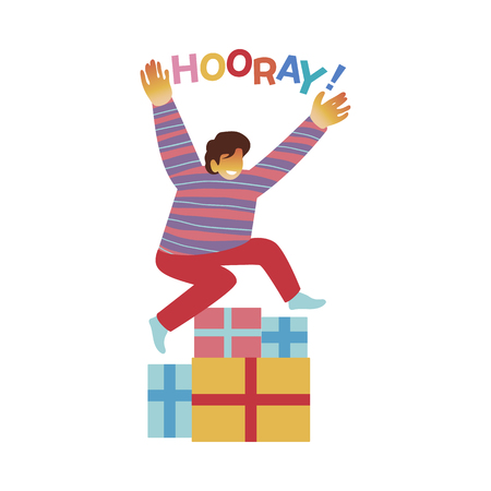 Vector illustration of happy boy jumping over bunch of gift boxes and shouting Hooray isolated on white background. Smiling male character getting pleasant presents in flat style.
