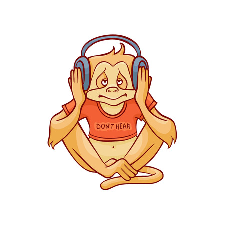 Vector illustration of monkey dont hear because wearing headphones on his ears and listening to music in sketch style isolated on white background - hand drawn wild animal with closed ears.