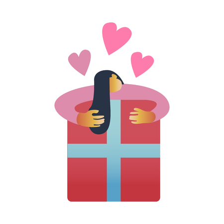 Vector illustration of girl in pink clothing hugging big red wrapped present box with love isolated on white background. Happy female character getting pleasant gift in flat style.