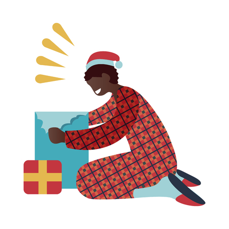 Vector illustration of kid boy in red pajamas and santa claus hat opening gift box in morning isolated on white background. Flat happy male character getting Christmas presents.