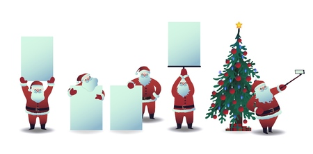 Vector illustration set of Santa Claus with blank placards and taking selfie using smartphone camera on background of tree - isolated Christmas and New Year layouts for holiday greeting design.