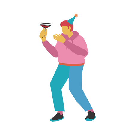 Vector illustration of dancing and drinking alcohol cocktail man in party hat - flat young caucasian male character with no face in casual clothes having fun isolated on white background.