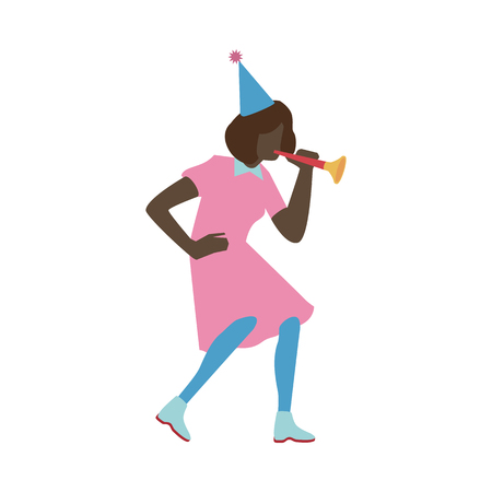 Vector illustration of young woman in conical party hat blowing in tube isolated on white background - flat african female character with no face dancing and having fun at holiday.