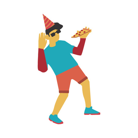Vector illustration of dancing and eating triangular piece of pizza man in party hat - flat young caucasian male character with no face in casual clothes having fun isolated on white background.
