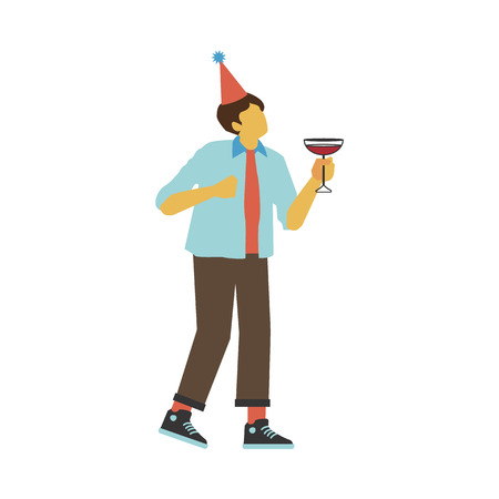 Vector illustration of dancing and drinking alcohol cocktail man in conical party hat. Flat young caucasian male character with no face in casual clothes having fun isolated on white background.