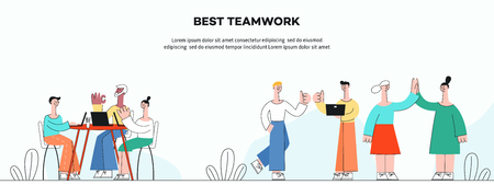 Vector illustration of successful teamwork horizontal banner in flat style - business people working and developing projects together in workspace isolated on white background. Иллюстрация
