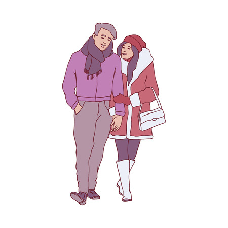 Vector sketch couple walking hugging, holding hands at winter in warm clothing, hat and boots. Adult man and woman lovers express care and love, valentines day romantic characters  イラスト・ベクター素材
