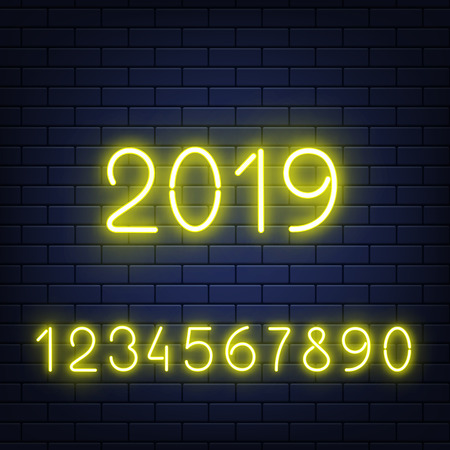 Vector illustration set of glowing neon numbers and 2019 New Year sign on dark brick wall background in realistic style - yellow shining numerals for congratulation poster. Illustration