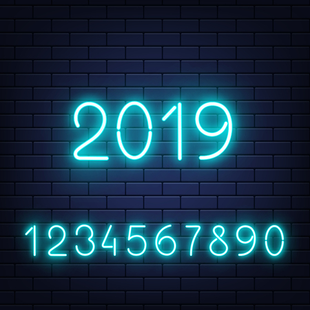 Vector glowing neon blue numbers set with 2019 new year at middle at dark brick wall background. Bar, pub signage design elements, elluminated electric numerical elements collection illustration