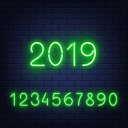 Vector glowing neon numbers set with 2019 new year at middle at dark brick wall background. Bar, pub signage design elements, elluminated electric numerical elements collection illustration