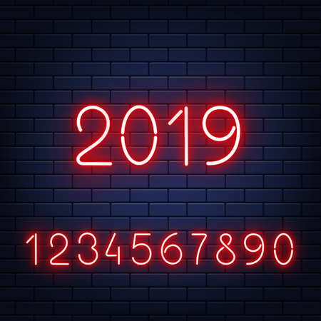 Vector illustration set of red glowing neon numbers on dark brick wall background in realistic style. Template for congratulation banner with shining numerals collection and 2019 sign.