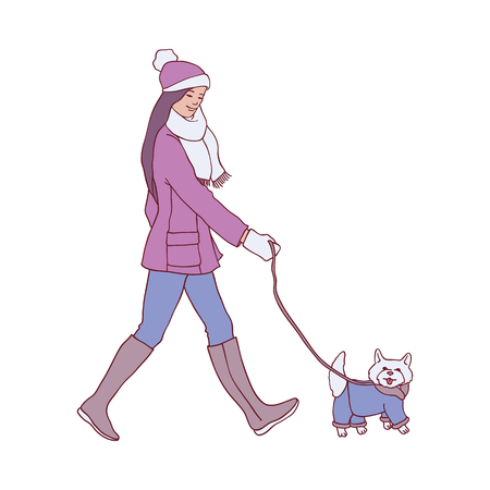 Vector illustration of young woman walking dog in winter time in sketch style - hand drawn female smiling character and her fluffy pet in warm clothes in cold season isolated on white background.