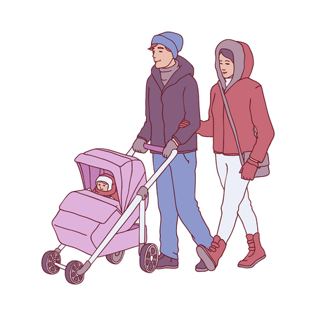 Vector illustration of young parents with baby in pram walking in wintertime in sketch style - hand drawn happy family in warm winter clothes isolated on white background.