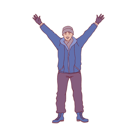 Vector illustration of young man standing with hands up in winter time in sketch style - hand drawn happy smiling boy in warm cloth welcoming or greeting someone isolated on white background.