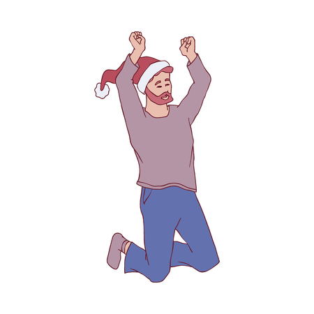 Vector illustration of young man in warm home clothes and red Santa Claus hat jumping with happiness and joyful in sketch style. Isolated hand drawn bearded boy celebrating Christmas and New Year.