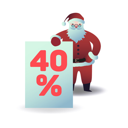 Vector illustration of santa claus holding plate with 40 percent sign in flat cartoon style - Christmas and New Year symbol for holiday and seasonal sale design isolated on white background.