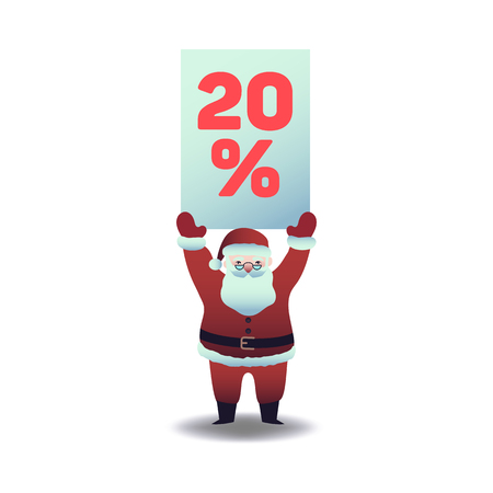 Vector illustration of santa claus holding plate with 20 percent sign overhead for holiday and seasonal sales. Isolated Christmas and New Year symbol for promotion banner in flat cartoon style.  イラスト・ベクター素材