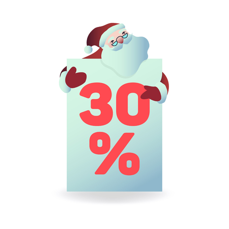 Vector illustration of santa claus holding plate with 30 percent sign for holiday and seasonal sales - isolated Christmas and New Year symbol for promotion banner in flat cartoon style.