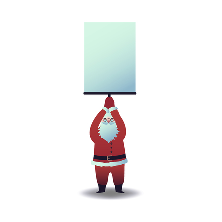 Vector illustration of Santa Claus holding blank paper placard overhead in flat cartoon style. Christmas and New Year symbol for holiday greeting design isolated on white background.