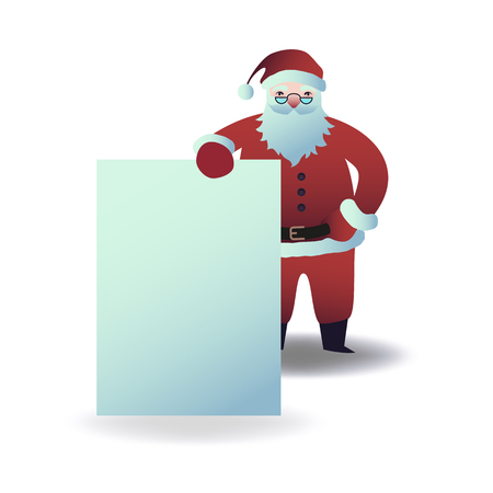 Vector illustration of Santa Claus holding blank placard in front of him in flat cartoon style. Christmas and New Year layout for holiday greeting design isolated on white background.