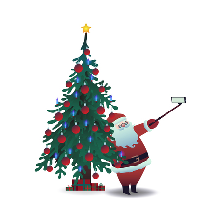 Vector illustration of Santa Claus taking selfie using smartphone camera and stick on background of decorated Christmas tree in flat cartoon style isolated on white background.