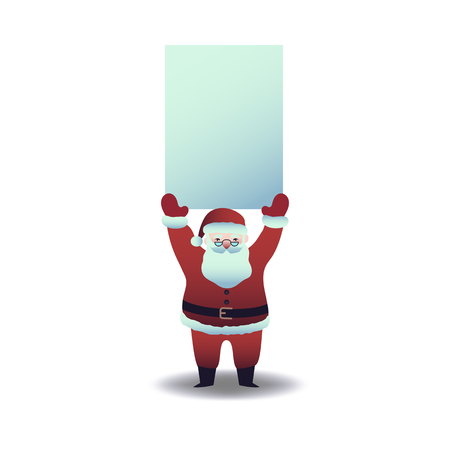 Vector illustration of Santa Claus holding blank paper placard overhead in flat cartoon style - Christmas and New Year symbol for holiday greeting design isolated on white background.