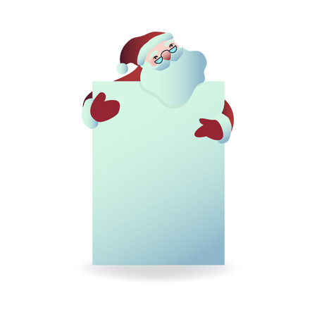 Vector illustration of Santa Claus holding blank placard in front of him in flat cartoon style - Christmas and New Year layout for holiday greeting design isolated on white background. Stock Illustratie