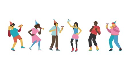 Friend party vector illustration set with men and women with holiday equipment dancing and having fun - isolated flat male and female characters with no faces drinking cocktails and eating pizza. Stock Illustratie