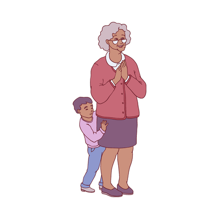 Vector illustration of grandmother and her little grandson standing in pleasant anticipation and waiting for enjoyable surprise in sketch style - isolated amazed aged woman and kid.