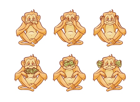 Vector illustration set of three monkeys dont speak, hear and see covering his eyes, ears and mouth with hands and stacks of green money banknotes in sketch style isolated on white background.