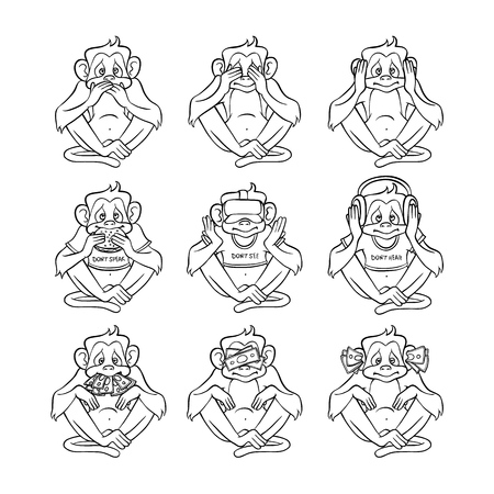 Vector see no evil, hear no evil, speak no evil metaphor with monkeys covering eyes, mouth, ears by hands, eating burger, wearing headphones, VR headset with money. Sketch ape animals for moral design Illustration