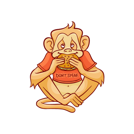 Vector illustration of monkey dont speak because eating big hamburger in sketch style isolated on white background - hand drawn wild animal with mouth closed with sandwich.