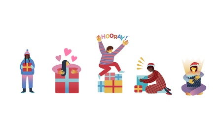 Vector illustration set of happy kids getting Christmas and New Year gifts isolated on white background - flat characters of children with present boxes for winter holidays. Vettoriali