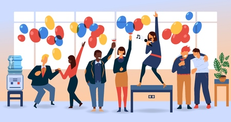 Vector flat funny women, men in suit having fun at corporate party dancing, singing at table, drinking alcohol. Business people goes wild at birthday, corporate christmas party with balloons in office