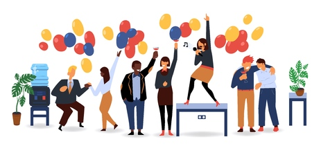 Vector flat funny women, men in suit having fun at corporate party dancing, singing at table, drinking alcohol cocktails. Business people goes wild at birthday, corporate christmas party with balloons